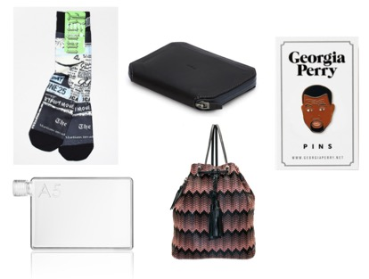 Rihanna x STANCE Socks Most Wanted 2. A5 memobottle  3. Bellroy Travel Pouch 4. Simone Camille Midi Backpack 5. Georgia Perry Kanye West Pin